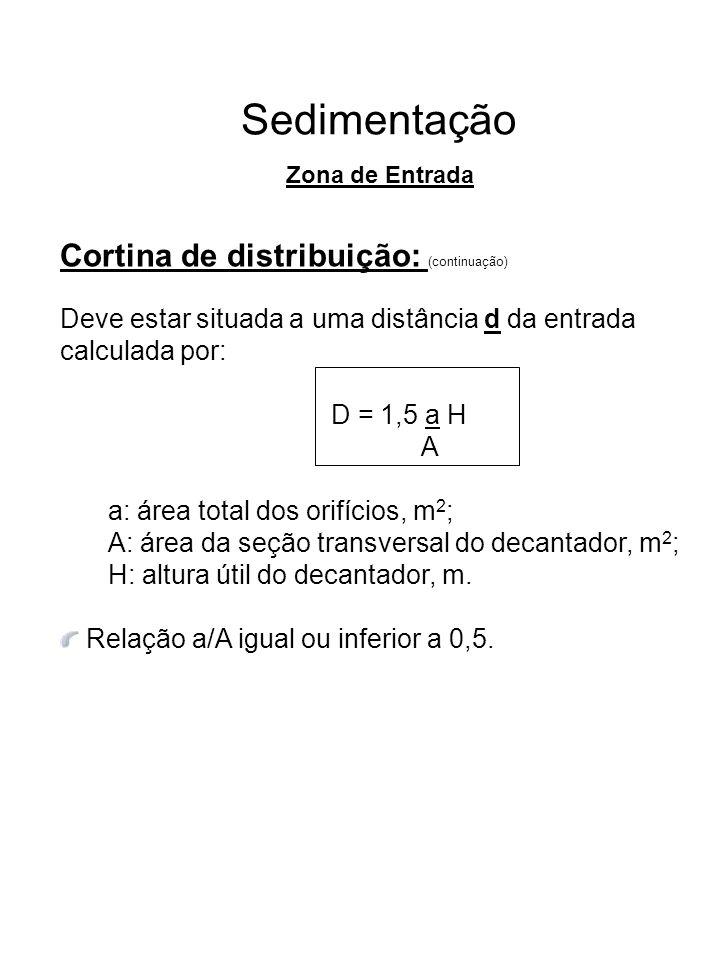 Sedimentação Cortina de distribuição: (continuação) Deve estar situada a uma distância d da entrada calculada por: D = 1,5 a H A a: área total dos ori