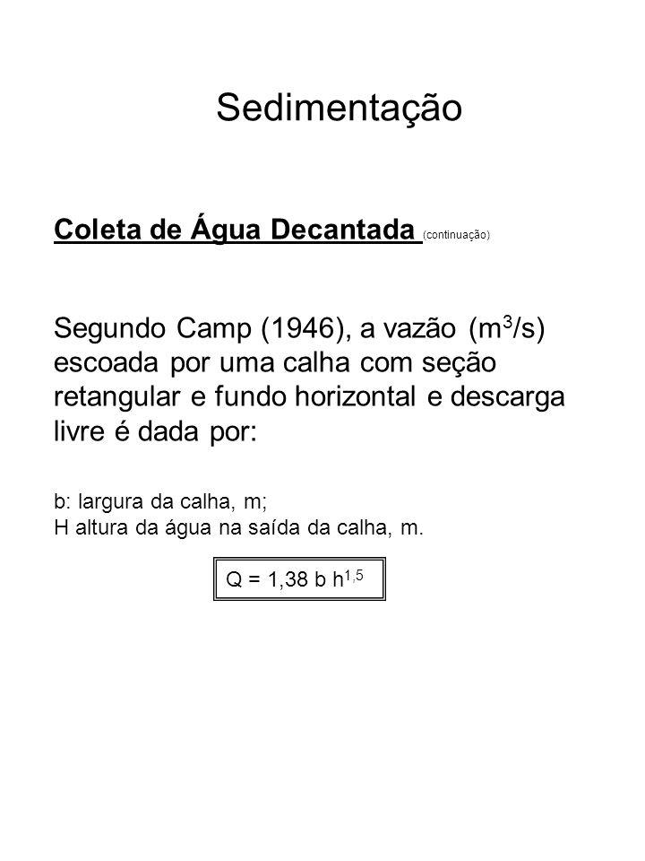 Sedimentação Coleta de Água Decantada (continuação) Segundo Camp (1946), a vazão (m 3 /s) escoada por uma calha com seção retangular e fundo horizonta