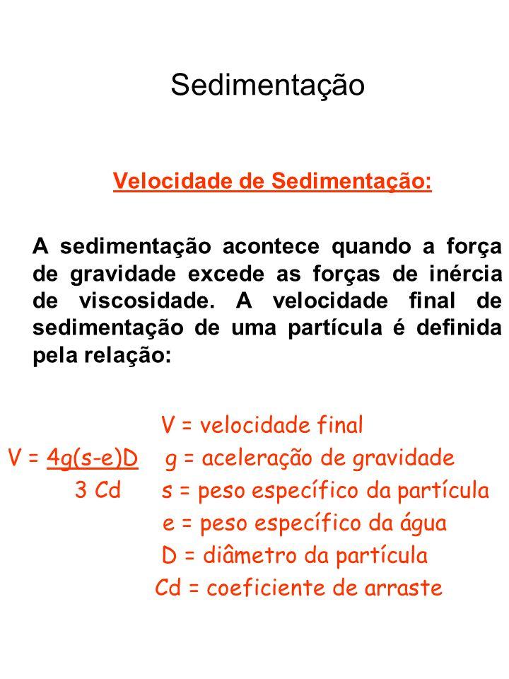 Sedimentação Decantador Convencional Parâmetros de Projeto (NBR12216/92) (continuação) Segundo a NBR 12216/92, não sendo possível determinar a velocidade de sedimentação através de ensaios de laboratório, a velocidade longitudinal máxima não deve ser superior ao valor resultante das expressões: a) em estações com capacidade até 10000 m 3 /dia: 0,50 cm/s; b) estações com capacidade superior a 10000 m 3 /dia, 0,75 cm/s e havendo remoção contínua do lodo por sistemas mecânicos ou hidráulicos: 1,00 cm/s.;