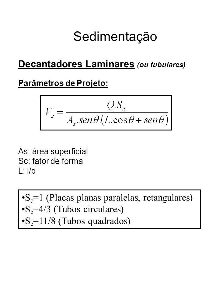 Sedimentação Decantadores Laminares (ou tubulares) Parâmetros de Projeto: As: área superficial Sc: fator de forma L: l/d S c =1 (Placas planas paralel
