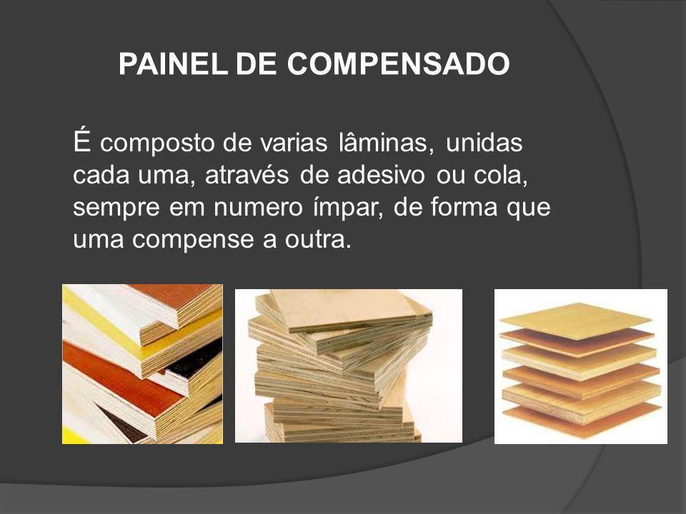 PAINEL DE COMPENSADO É composto de varias lâminas, unidas cada uma, através de adesivo ou cola, sempre em numero ímpar, de forma que uma compense a ou