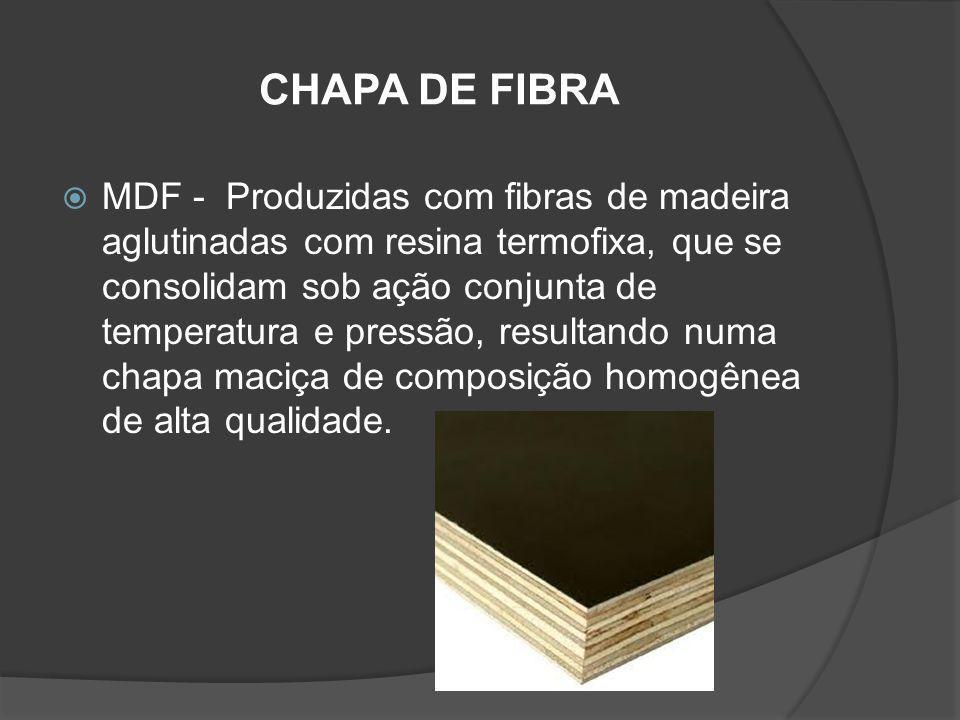 CHAPA DE FIBRA MDF - Produzidas com fibras de madeira aglutinadas com resina termofixa, que se consolidam sob ação conjunta de temperatura e pressão,