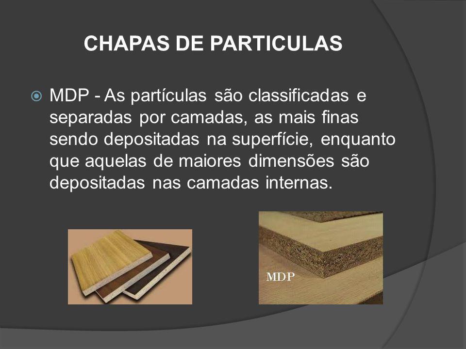 CHAPAS DE PARTICULAS MDP - As partículas são classificadas e separadas por camadas, as mais finas sendo depositadas na superfície, enquanto que aquela