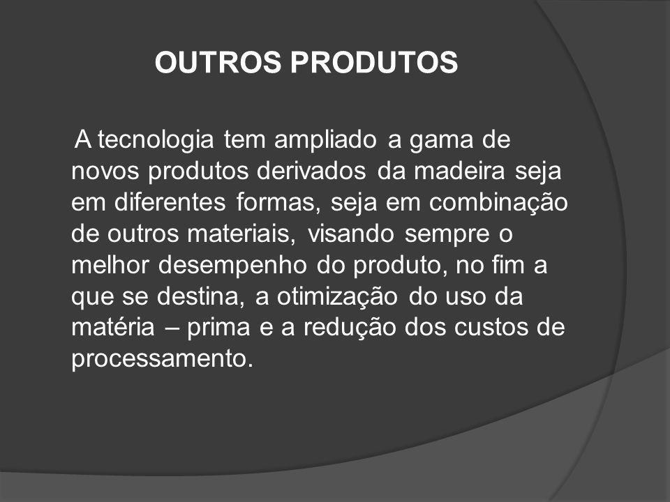 OUTROS PRODUTOS A tecnologia tem ampliado a gama de novos produtos derivados da madeira seja em diferentes formas, seja em combinação de outros materi