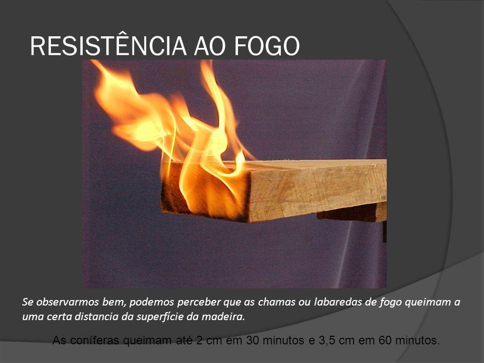 RESISTÊNCIA AO FOGO As coníferas queimam até 2 cm em 30 minutos e 3,5 cm em 60 minutos. Se observarmos bem, podemos perceber que as chamas ou labareda