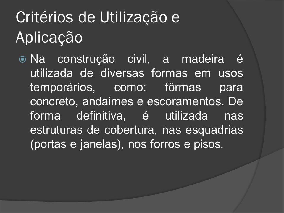 Critérios de Utilização e Aplicação Na construção civil, a madeira é utilizada de diversas formas em usos temporários, como: fôrmas para concreto, and