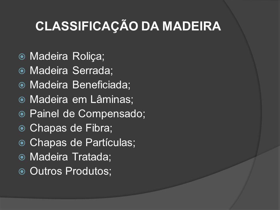 CLASSIFICAÇÃO DA MADEIRA Madeira Roliça; Madeira Serrada; Madeira Beneficiada; Madeira em Lâminas; Painel de Compensado; Chapas de Fibra; Chapas de Pa