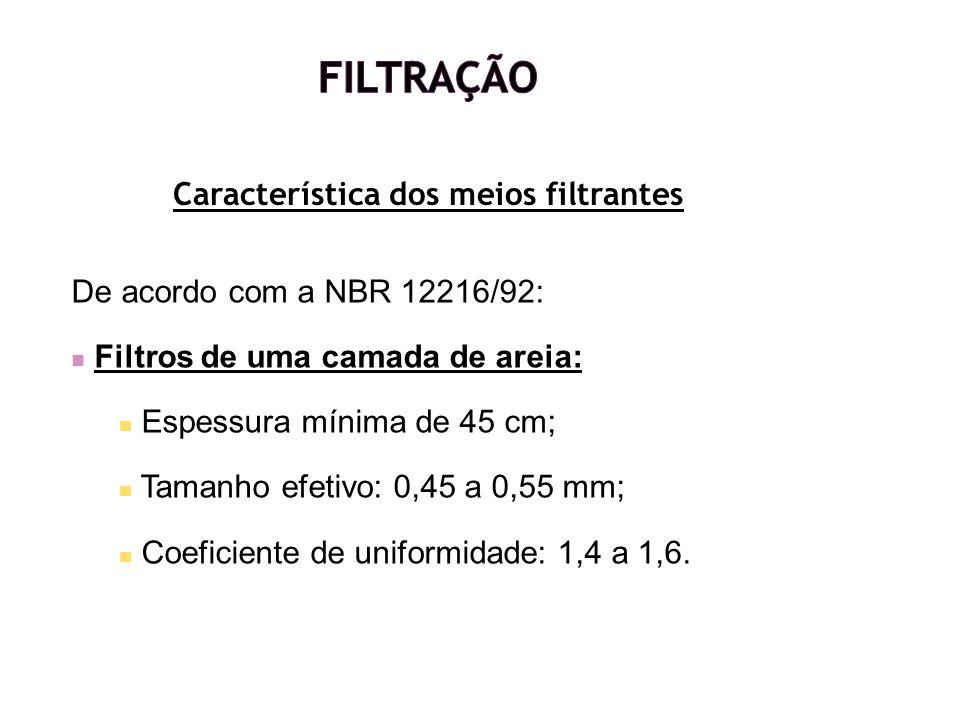 De acordo com a NBR 12216/92: Filtros de uma camada de areia: Espessura mínima de 45 cm; Tamanho efetivo: 0,45 a 0,55 mm; Coeficiente de uniformidade: