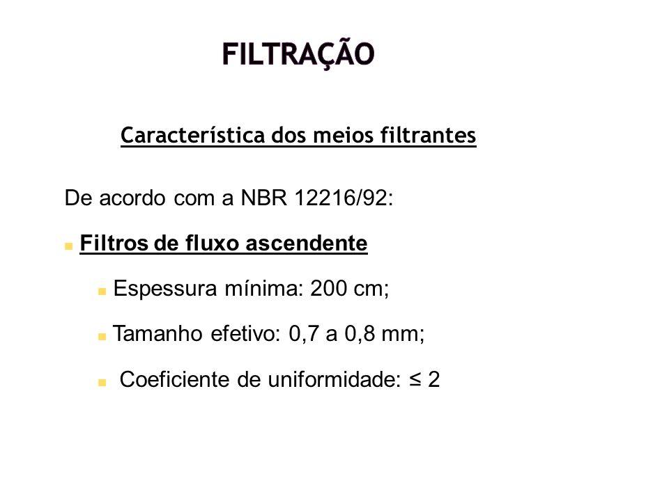 Característica dos meios filtrantes De acordo com a NBR 12216/92: Filtros de fluxo ascendente Espessura mínima: 200 cm; Tamanho efetivo: 0,7 a 0,8 mm;