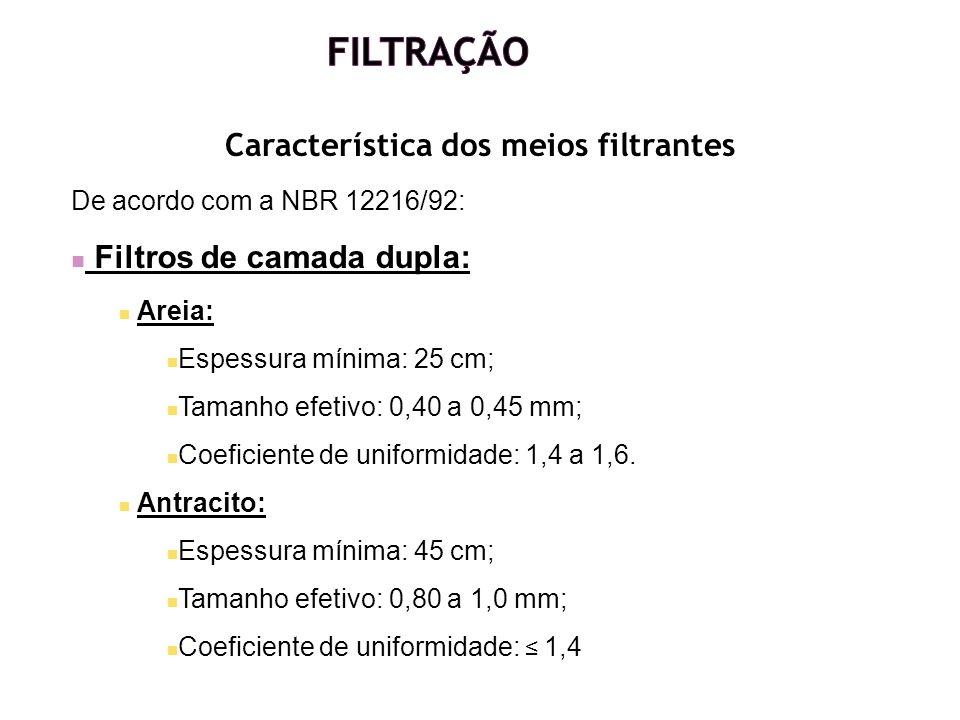 Característica dos meios filtrantes De acordo com a NBR 12216/92: Filtros de camada dupla: Areia: Espessura mínima: 25 cm; Tamanho efetivo: 0,40 a 0,4