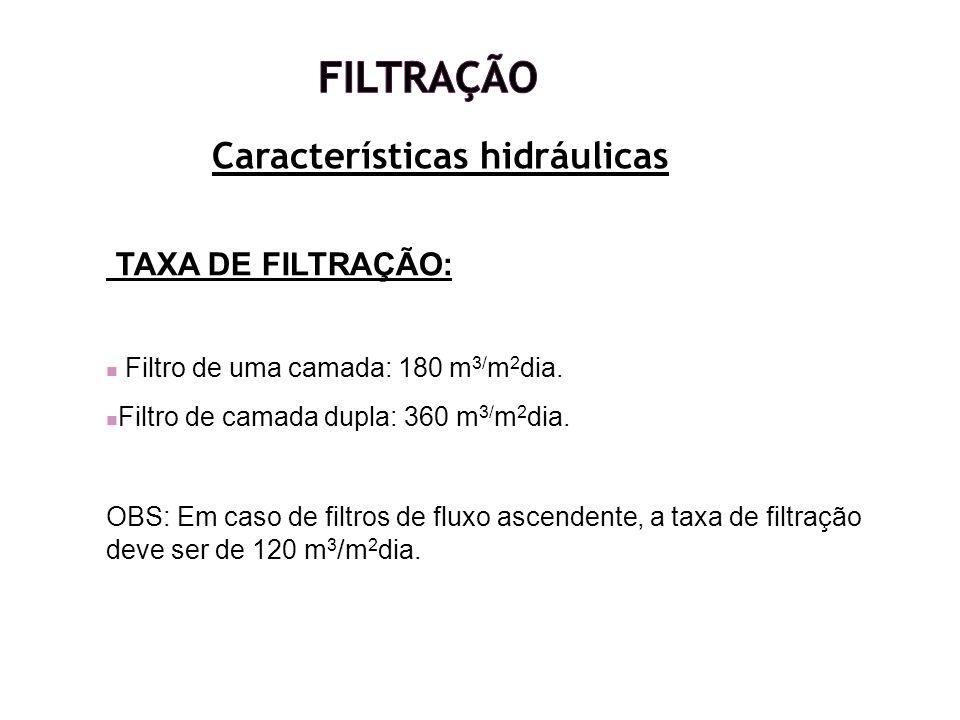 Características hidráulicas TAXA DE FILTRAÇÃO: Filtro de uma camada: 180 m 3/ m 2 dia. Filtro de camada dupla: 360 m 3/ m 2 dia. OBS: Em caso de filtr