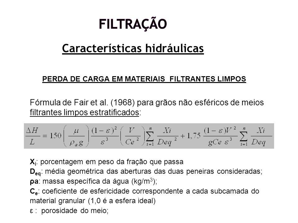 Características hidráulicas PERDA DE CARGA EM MATERIAIS FILTRANTES LIMPOS Fórmula de Fair et al. (1968) para grãos não esféricos de meios filtrantes l