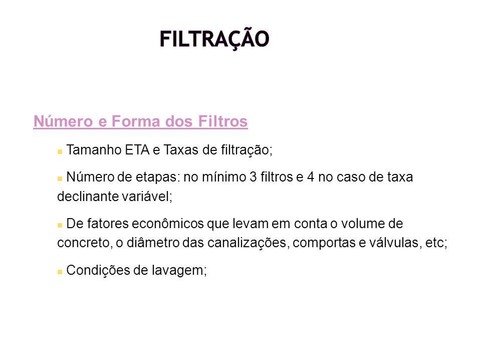 Número e Forma dos Filtros Tamanho ETA e Taxas de filtração; Número de etapas: no mínimo 3 filtros e 4 no caso de taxa declinante variável; De fatores