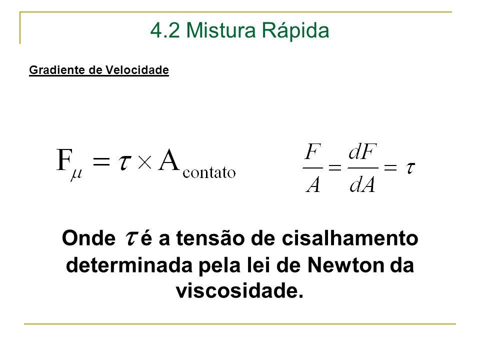 4.2 Mistura Rápida Gradiente de Velocidade Onde é a tensão de cisalhamento determinada pela lei de Newton da viscosidade.