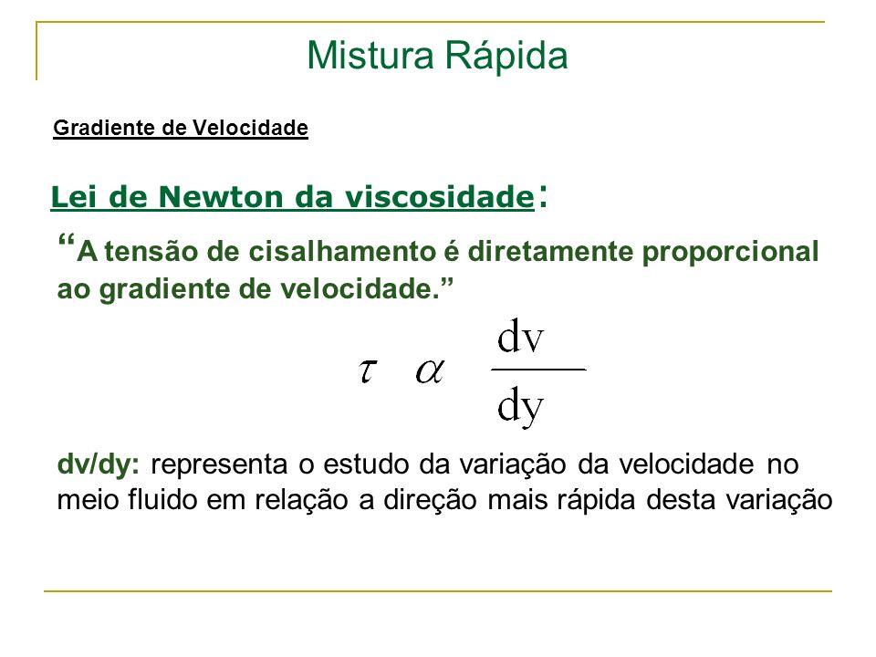 Mistura Rápida Gradiente de Velocidade Lei de Newton da viscosidade : A tensão de cisalhamento é diretamente proporcional ao gradiente de velocidade.