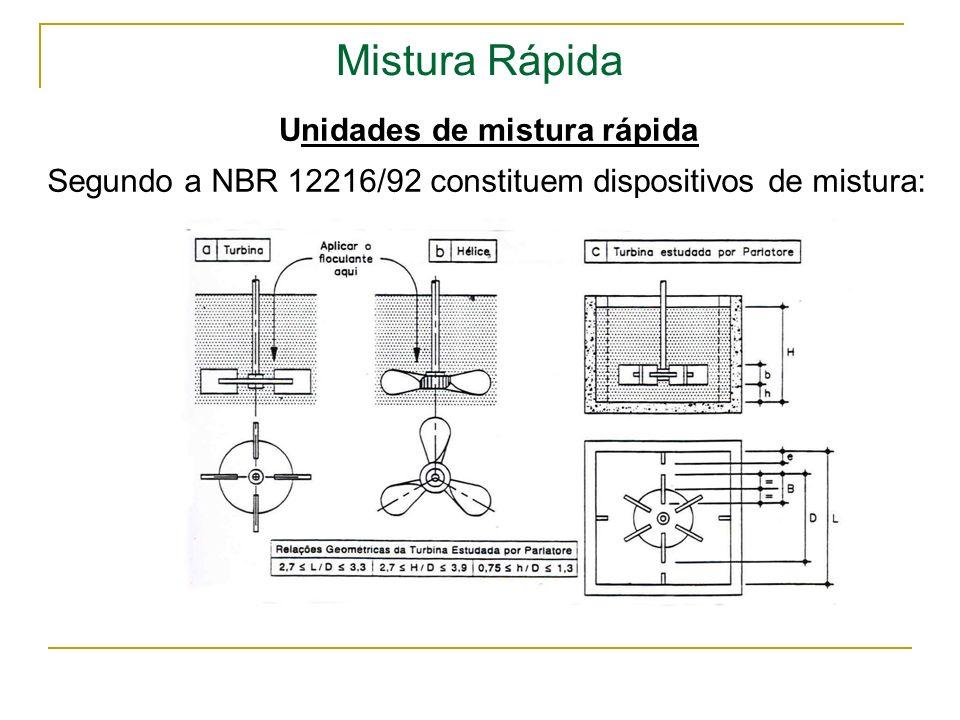 Mistura Rápida Unidades de mistura rápida Segundo a NBR 12216/92 constituem dispositivos de mistura: