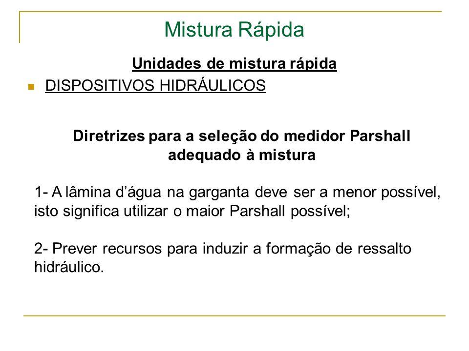 Mistura Rápida Unidades de mistura rápida DISPOSITIVOS HIDRÁULICOS Diretrizes para a seleção do medidor Parshall adequado à mistura 1- A lâmina dágua