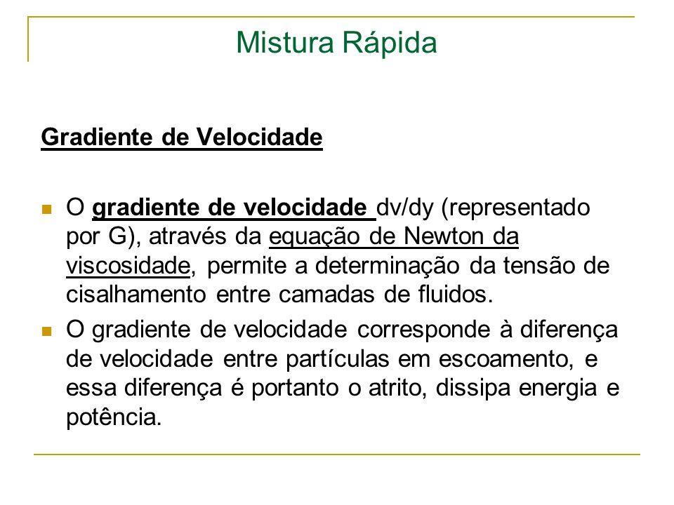 Mistura Rápida Gradiente de Velocidade O gradiente de velocidade dv/dy (representado por G), através da equação de Newton da viscosidade, permite a de