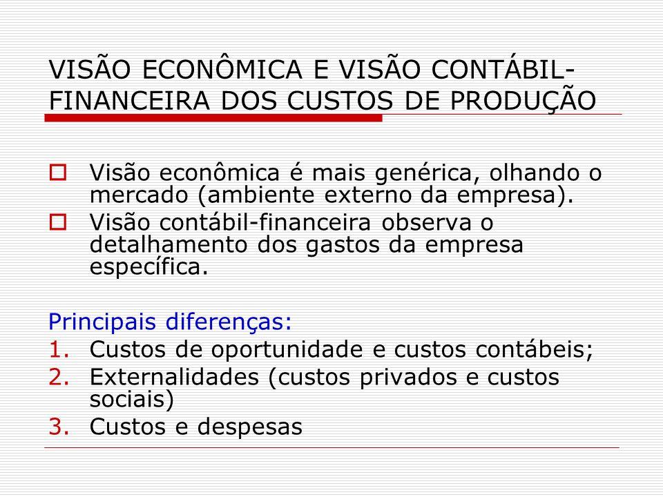 VISÃO ECONÔMICA E VISÃO CONTÁBIL- FINANCEIRA DOS CUSTOS DE PRODUÇÃO Visão econômica é mais genérica, olhando o mercado (ambiente externo da empresa).