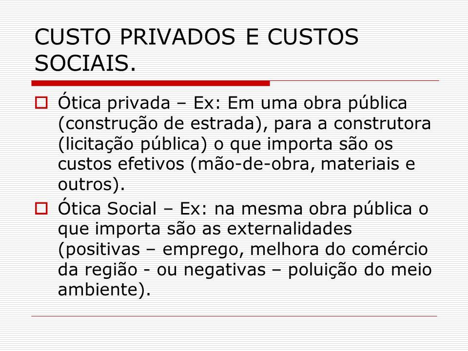 CUSTO PRIVADOS E CUSTOS SOCIAIS. Ótica privada – Ex: Em uma obra pública (construção de estrada), para a construtora (licitação pública) o que importa