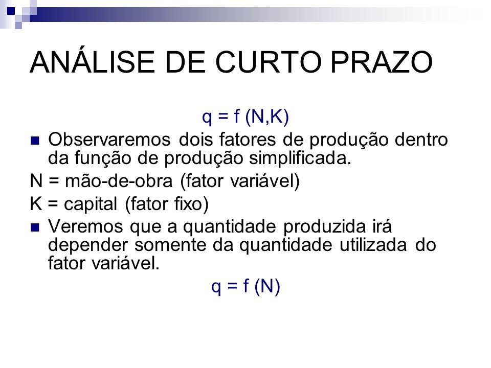 ANÁLISE DE CURTO PRAZO q = f (N,K) Observaremos dois fatores de produção dentro da função de produção simplificada. N = mão-de-obra (fator variável) K