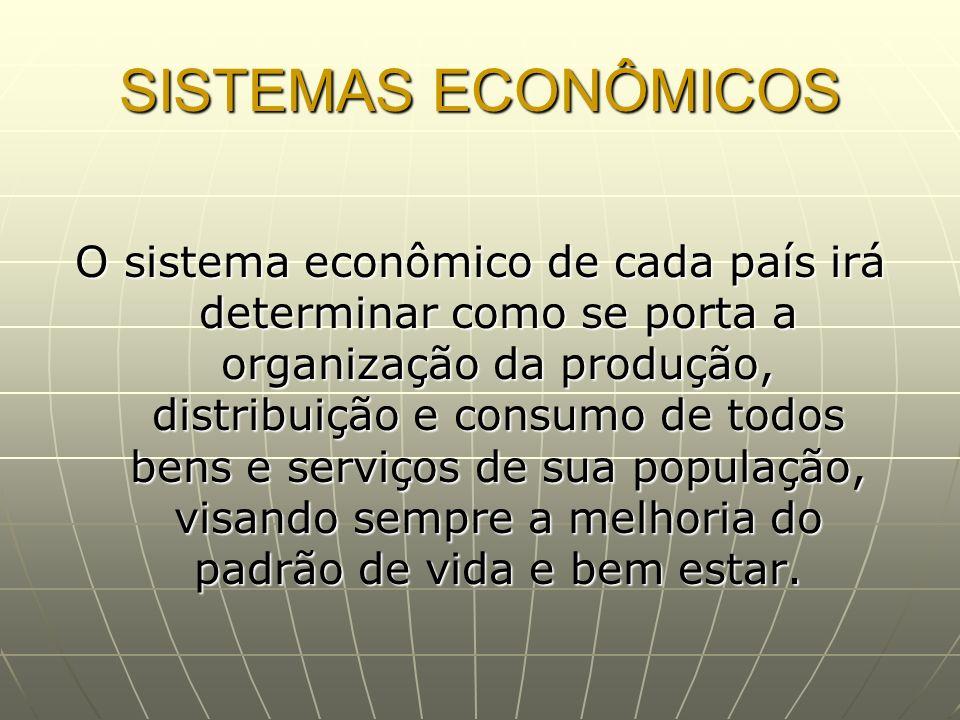 SISTEMAS ECONÔMICOS O sistema econômico de cada país irá determinar como se porta a organização da produção, distribuição e consumo de todos bens e se