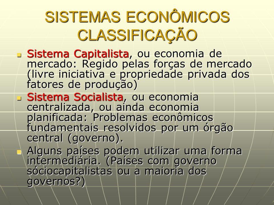 SISTEMAS ECONÔMICOS CLASSIFICAÇÃO Sistema Capitalista, ou economia de mercado: Regido pelas forças de mercado (livre iniciativa e propriedade privada