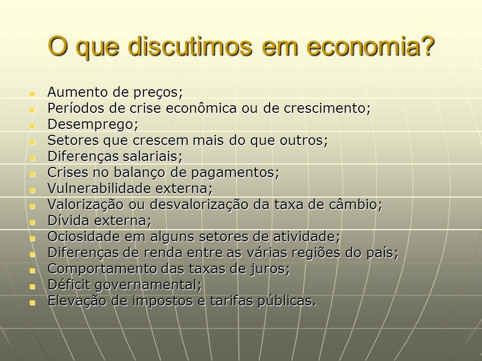 O que discutimos em economia? Aumento de preços; Aumento de preços; Períodos de crise econômica ou de crescimento; Períodos de crise econômica ou de c