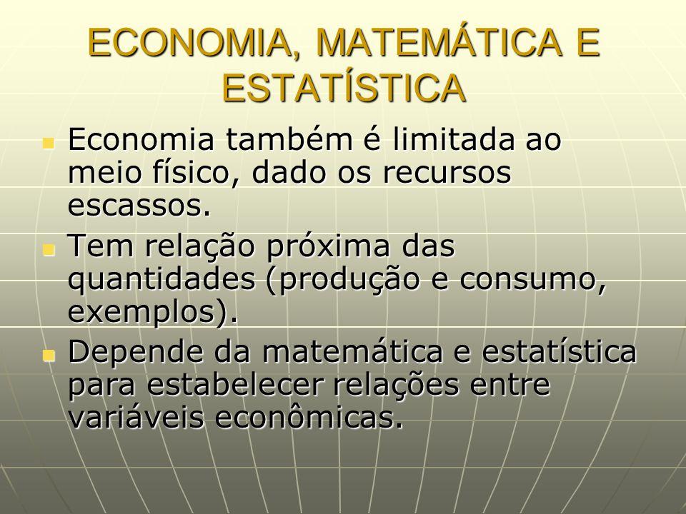 ECONOMIA, MATEMÁTICA E ESTATÍSTICA Economia também é limitada ao meio físico, dado os recursos escassos. Economia também é limitada ao meio físico, da