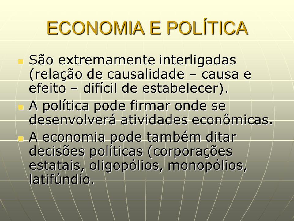 ECONOMIA E POLÍTICA São extremamente interligadas (relação de causalidade – causa e efeito – difícil de estabelecer). São extremamente interligadas (r