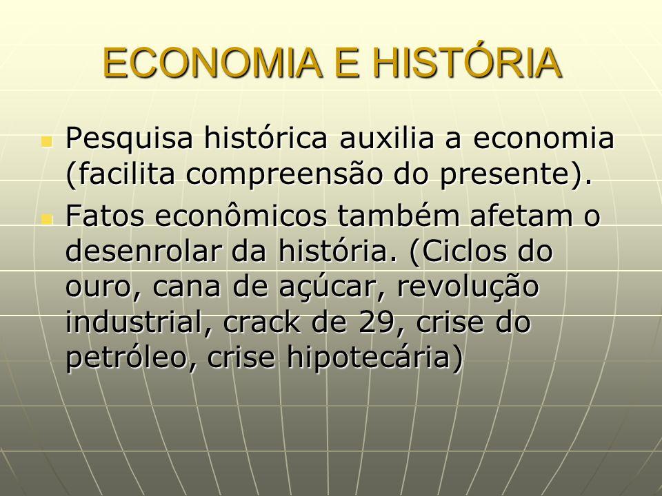 ECONOMIA E HISTÓRIA Pesquisa histórica auxilia a economia (facilita compreensão do presente). Pesquisa histórica auxilia a economia (facilita compreen