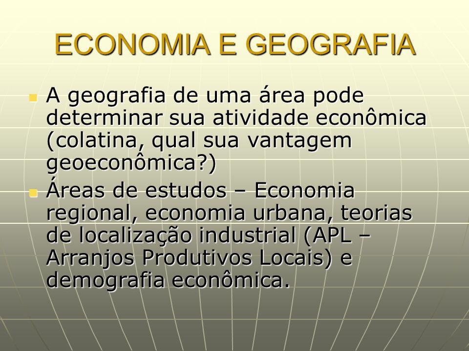 ECONOMIA E GEOGRAFIA A geografia de uma área pode determinar sua atividade econômica (colatina, qual sua vantagem geoeconômica?) A geografia de uma ár