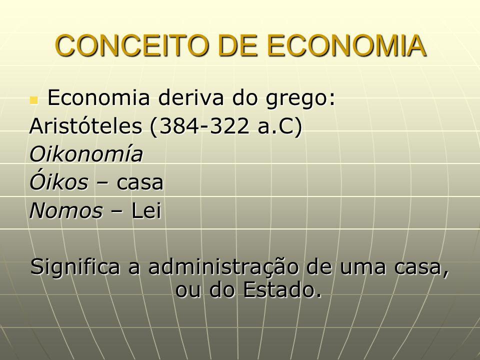 CONCEITO DE ECONOMIA Economia deriva do grego: Economia deriva do grego: Aristóteles (384-322 a.C) Oikonomía Óikos – casa Nomos – Lei Significa a admi