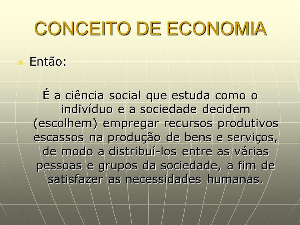 CONCEITO DE ECONOMIA Então: Então: É a ciência social que estuda como o indivíduo e a sociedade decidem (escolhem) empregar recursos produtivos escass