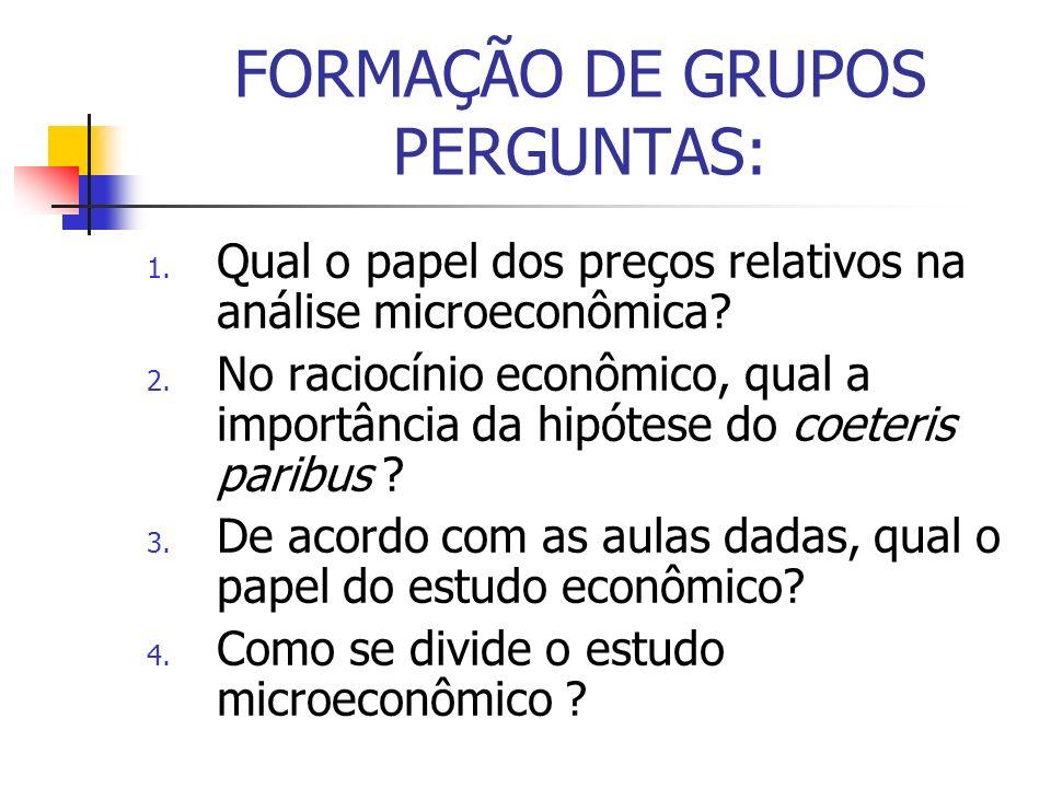 FORMAÇÃO DE GRUPOS PERGUNTAS: 1. Qual o papel dos preços relativos na análise microeconômica? 2. No raciocínio econômico, qual a importância da hipóte