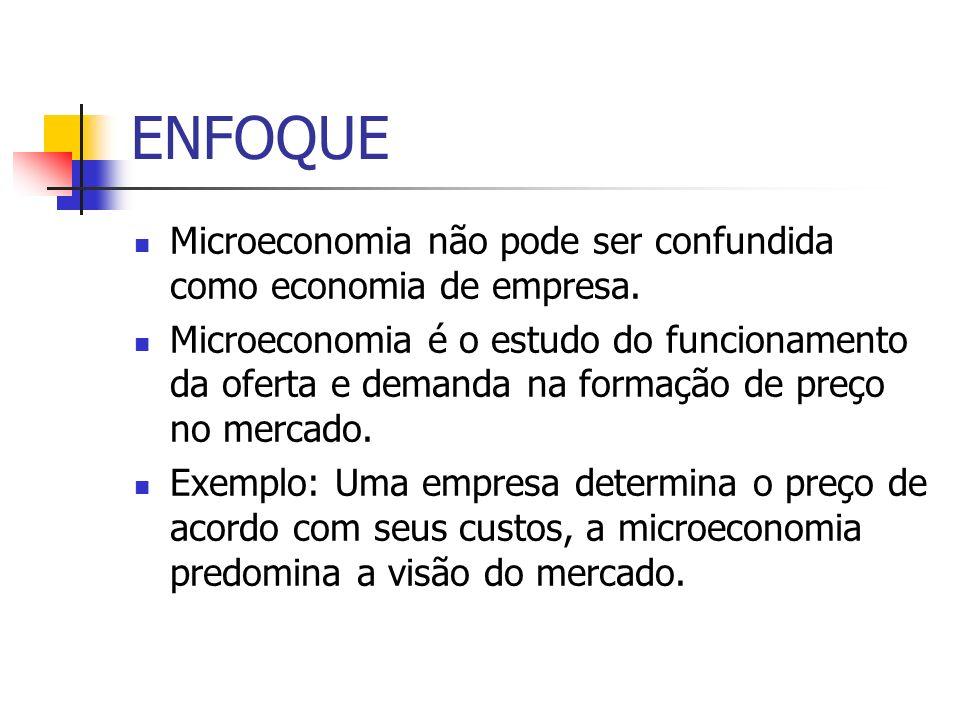ENFOQUE Microeconomia não pode ser confundida como economia de empresa. Microeconomia é o estudo do funcionamento da oferta e demanda na formação de p