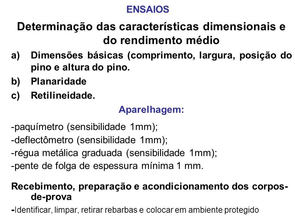 ENSAIOS Determinação das características dimensionais e do rendimento médio a)Dimensões básicas (comprimento, largura, posição do pino e altura do pin