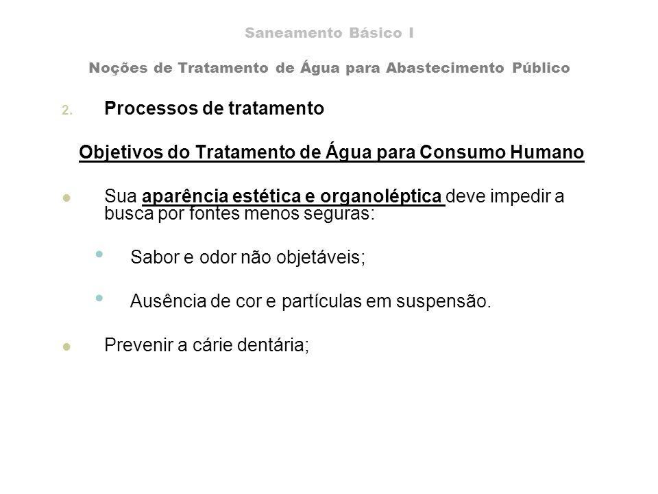 Saneamento Básico I Noções de Tratamento de Água para Abastecimento Público 2. Processos de tratamento Objetivos do Tratamento de Água para Consumo Hu