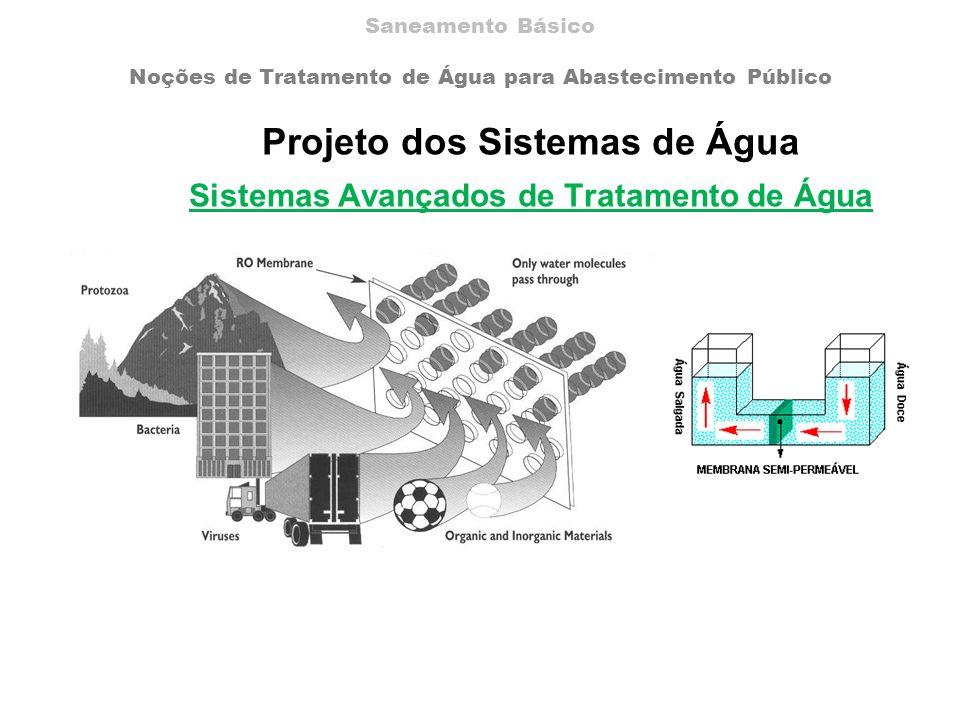 Projeto dos Sistemas de Água Sistemas Avançados de Tratamento de Água Saneamento Básico Noções de Tratamento de Água para Abastecimento Público