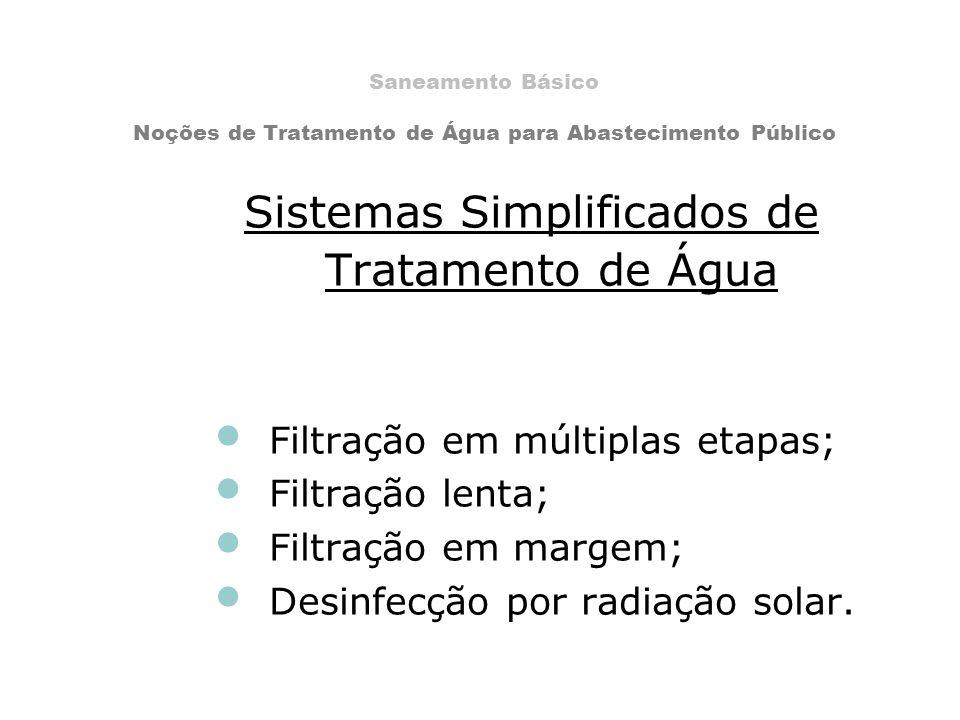Sistemas Simplificados de Tratamento de Água Filtração em múltiplas etapas; Filtração lenta; Filtração em margem; Desinfecção por radiação solar. Sane