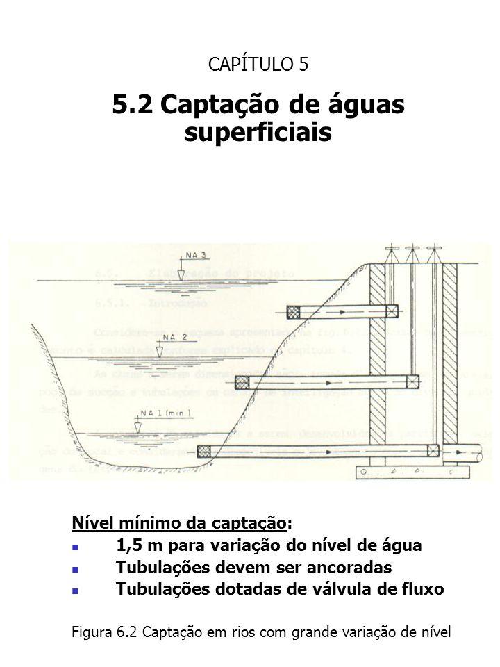 CAPÍTULO 5 5.2 Captação de águas superficiais Nível mínimo da captação: 1,5 m para variação do nível de água Tubulações devem ser ancoradas Tubulações