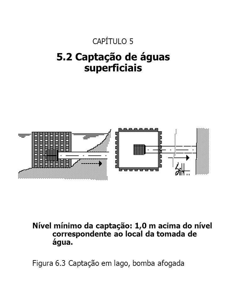 CAPÍTULO 5 5.2 Captação de águas superficiais Nível mínimo da captação: 1,0 m acima do nível correspondente ao local da tomada de água. Figura 6.3 Cap