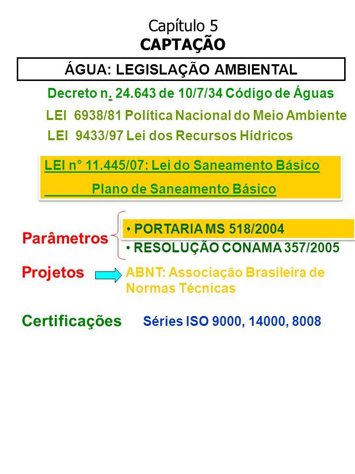 Capítulo 5 CAPTAÇÃO ÁGUA: LEGISLAÇÃO AMBIENTAL LEI 9433/97 Lei dos Recursos Hídricos PORTARIA MS 518/2004 RESOLUÇÃO CONAMA 357/2005 LEI 6938/81 Políti