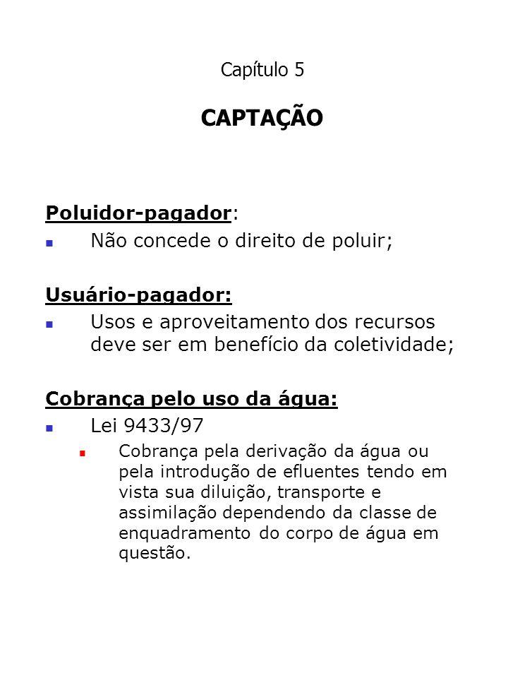 CAPÍTULO 5 5.2 Captação de águas superficiais Estudos Hidrológicos Período de retorno Vazão mínima do manancial; Vazão máxima do manancial.