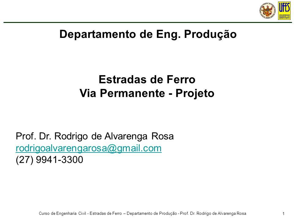 1 Curso de Engenharia Civil - Estradas de Ferro – Departamento de Produção - Prof. Dr. Rodrigo de Alvarenga Rosa Prof. Dr. Rodrigo de Alvarenga Rosa r