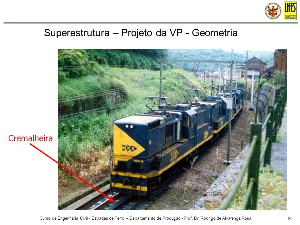 26 Curso de Engenharia Civil - Estradas de Ferro – Departamento de Produção - Prof. Dr. Rodrigo de Alvarenga Rosa Cremalheira Superestrutura – Projeto