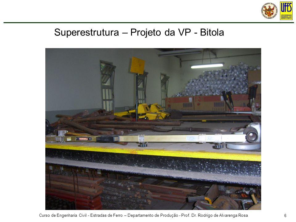 6 Curso de Engenharia Civil - Estradas de Ferro – Departamento de Produção - Prof. Dr. Rodrigo de Alvarenga Rosa Superestrutura – Projeto da VP - Bito