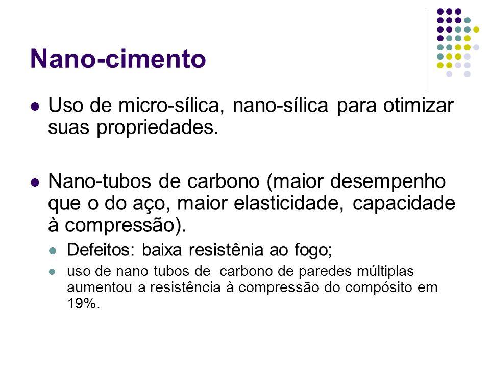 Nano-cimento Uso de micro-sílica, nano-sílica para otimizar suas propriedades. Nano-tubos de carbono (maior desempenho que o do aço, maior elasticidad