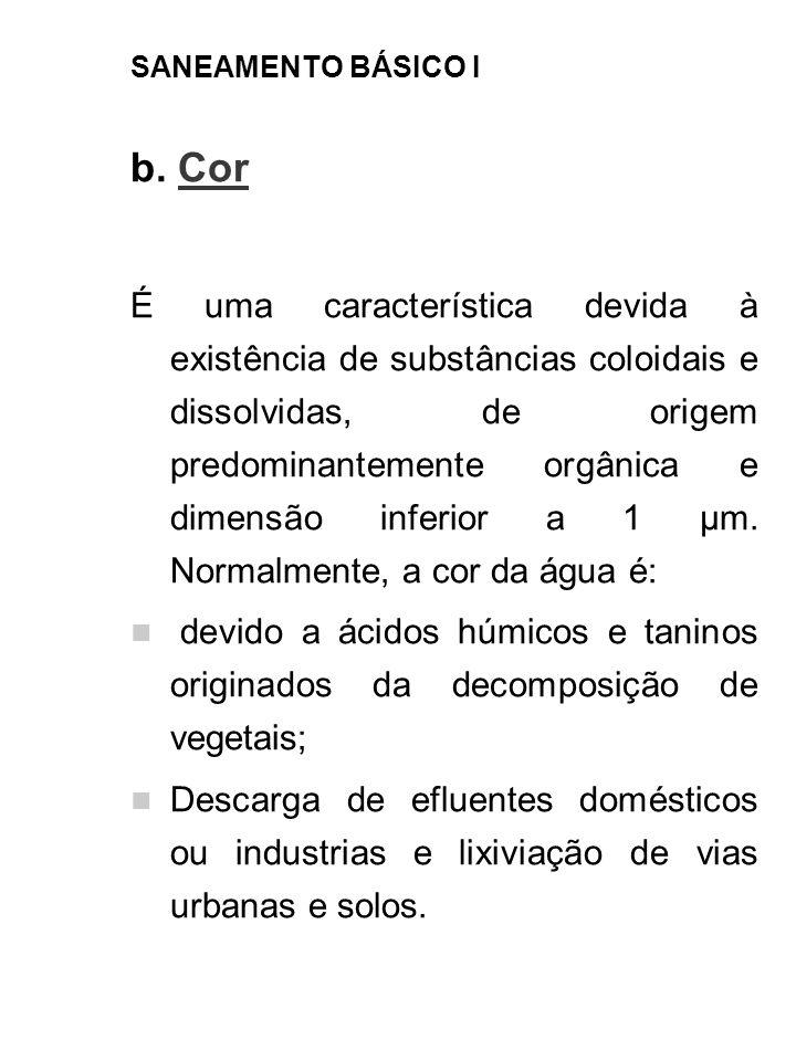 SANEAMENTO BÁSICO I b. Cor É uma característica devida à existência de substâncias coloidais e dissolvidas, de origem predominantemente orgânica e dim
