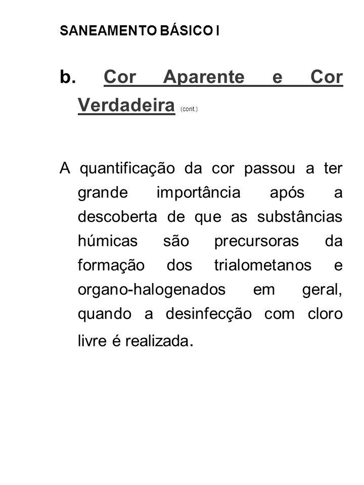 SANEAMENTO BÁSICO I b. Cor Aparente e Cor Verdadeira (cont.) A quantificação da cor passou a ter grande importância após a descoberta de que as substâ